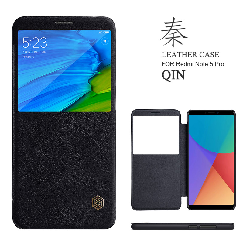 for Xiaomi Redmi Note 5 Pro Case Nillkin Qin Luxury Flip Leather Case Smart Window View for Redmi Note 5 Prime Phone Case Cover