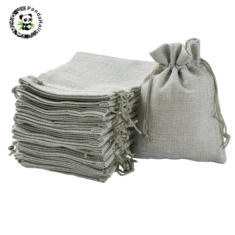 Pandahall 25/50pcs 13.5x9.5cm/18x13cm Burlap Packing Pouches Drawstring Bags For Jewelry Gifts Arts Packaging Storage