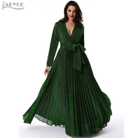 ADYCE Long Pleated Maxi Dress Runway 2019 Women Party Dress Gold Long Sleeve Deep V Neck Sashes Mesh Celebrity Party Vestidos