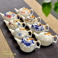 Traditionellen Chinesischen Blau Weiß Reis Muster Porzellan Tee Topf 170ml Alte China Keramik Teekanne Puer Kongfu Tee-Set Samowar