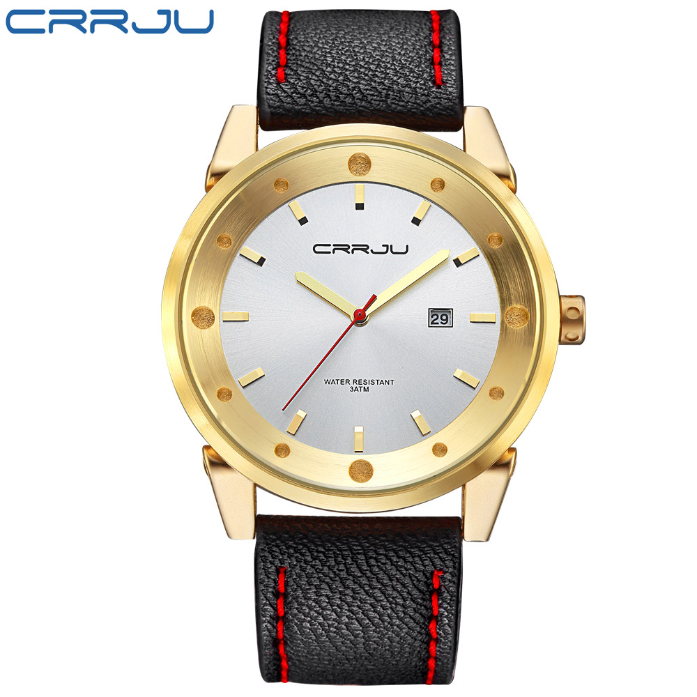 2017 Top Luxusmarke Crrju Männer Sport Uhren Herren Quarz Datum Clock Mann Leder Armee Militär Armbanduhr Relogio Masculino ZuverläSsige Leistung