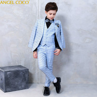 Blue Blazers For Boys Suits For Weddings Piano Costume School Hosting Boys Prom Suits Costume Garcon Boys Dresses For Children