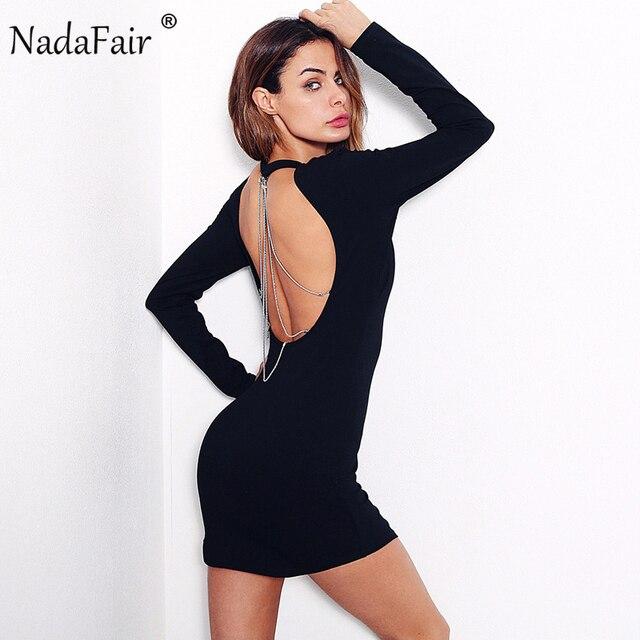 74deec29757 Nadafair O cou à manches longues dos nu chaîne Sexy Club moulante robe de soirée  noir