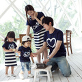 2017 new family matching clothes Korean Dad Baby short sleeve T-shirt  kids and mom tops + striped vest dress 2 pcs sets