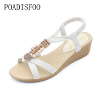 POADISFOO 2018 New Fashion Summer Pu Cross S Sandals Soft Comfy Women S Flat With Beads