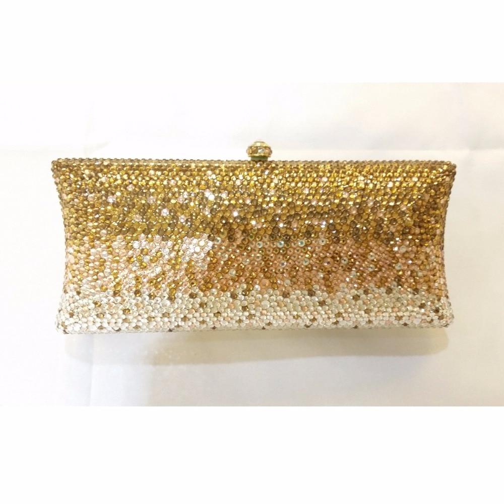 ФОТО S7735CG gold Crystals in Gradual change effect Lady fashion Bridal Metal Evening purse clutch bag case handbag box