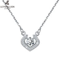 LEPAPILLION Real 925 Sterling Silver Women Necklaces Fine Jewelry Fashion Heart Pendant Necklace With Charming Movable