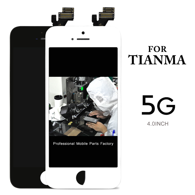 imágenes para 10 unids Para Tianma Pantalla LCD de Pantalla Digitalizador Asamblea Para el iphone 5 Pantalla LCD Negro/Blanco Todo Gratis + cámara