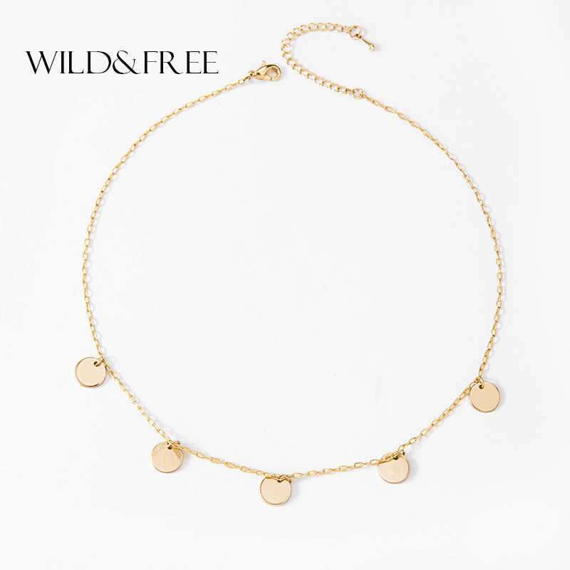Wild&Free New Arrival Gold Sequins Coin Tassel Choker Women Charms Choker Jewelry Simple Chain Chokers Necklaces for Women