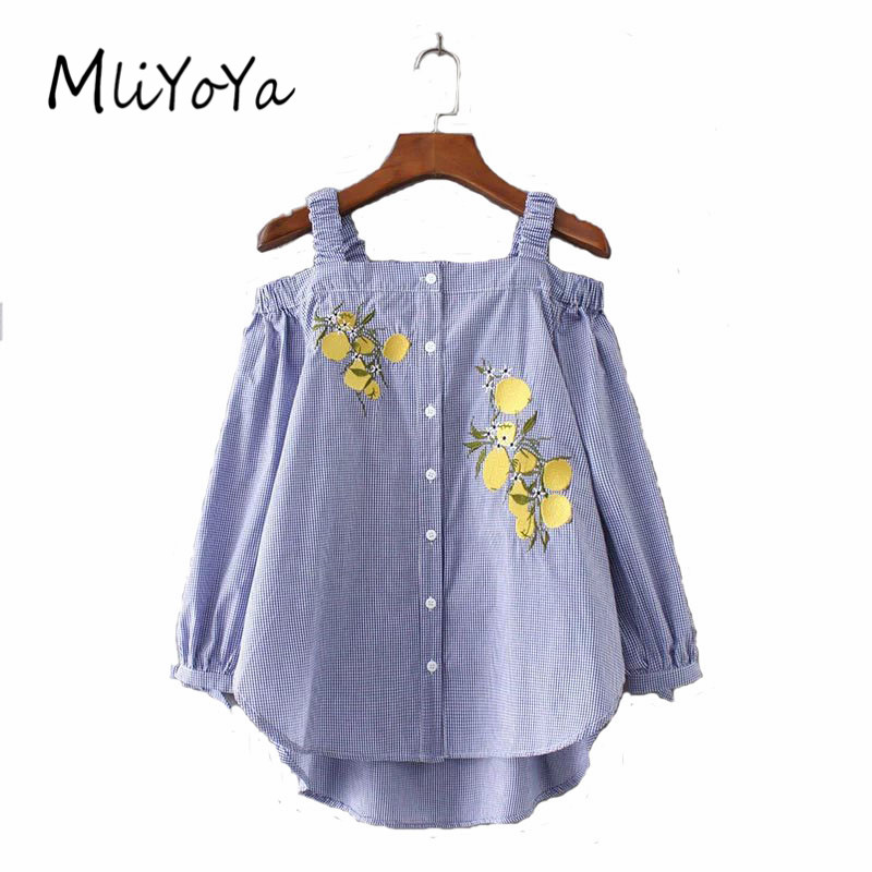 Mliyoya Store MLIYOYA Fashion Little Plaid Off-shoulder Women Shirts Lemon Embroidery Blouse New Spring Summer Irregular Hem Lady Camis Shirt