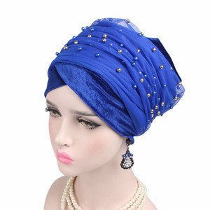 Image 5 - New Luxury Women scarf Hijab Hats Velvet Gold Beaded Decorate Long Head Scarf Headscarf Turban Caps Indian Caps Wrap Cap