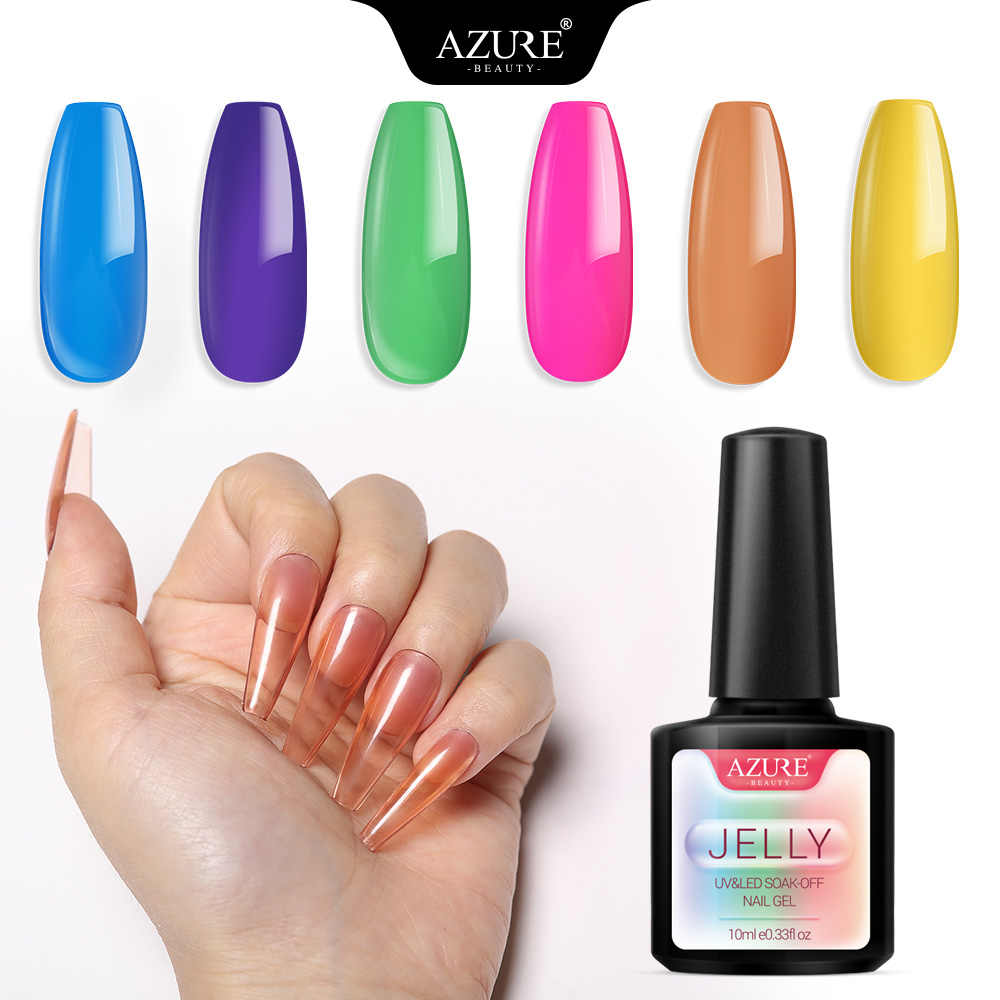 Azure Kecantikan Tembus Jelly UV Kuku Gel Polandia Semi Permanen Kaca Permen LED Nail Varnish Bahasa Polandia Semi Permanen LED Lacquer