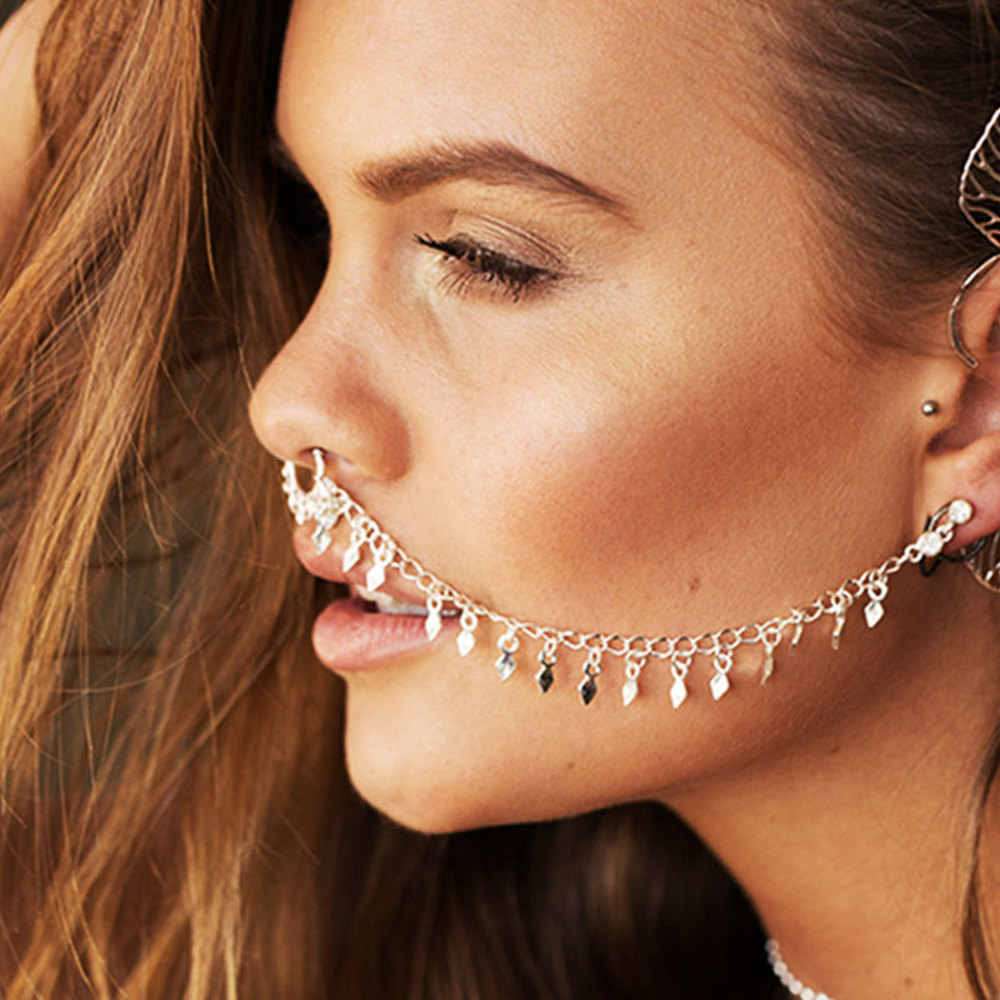 Indian Metal Tassels Nose Rings And Studs Ear Chain Women Gold