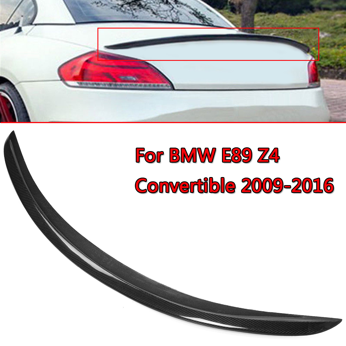 New Real Carbon Fiber Trunk Lip Spoiler Wing For BMW E89 Z4 Convertible 2009-2016 Gloss Black Rear Roof Wing SpoilerNew Real Carbon Fiber Trunk Lip Spoiler Wing For BMW E89 Z4 Convertible 2009-2016 Gloss Black Rear Roof Wing Spoiler