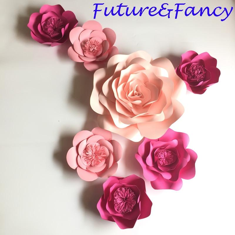 Polovica 7pcs roza velikan papir cvetje za dekliško zabavo poroko - Prazniki in zabave