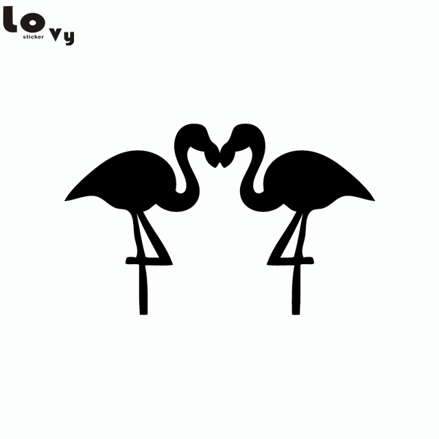 Couple flamingo birds silhouette wall sticker cartoon animals vinyl wall decal home decor