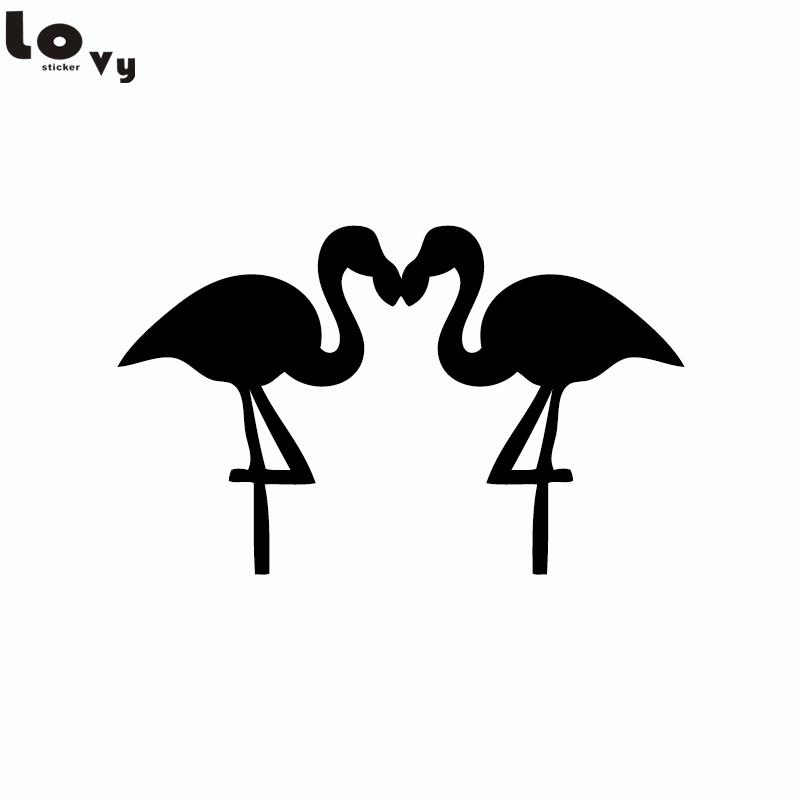 Couple Flamant Rose Oiseaux Silhouette Sticker Mural Dessin