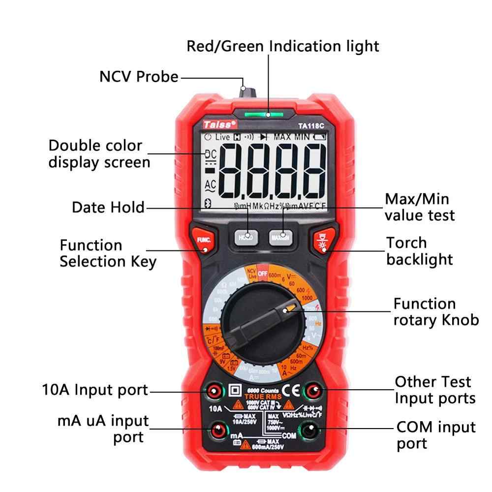 Digital Multimeter Tilswall 6000 Counts Multimeters Manual Ranging High Safety Anti-Scald Double Fuse with NCV Function for Measures AC DC Voltage//Current,Resistance,Continuity,Tests Diodes,Batteries