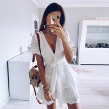 White Embroidery Cotton Dresses Summer Women Short Sleeve Casual Beach Sundress Sexy V Neck Hollow Out Mini Dress Plus Size