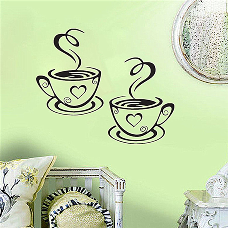 Newest Beautiful Design Coffee Cups Cafe Tea Wall Mural Vinyl Art Decal  Kitchen Restaurant Wall Decor Y 256