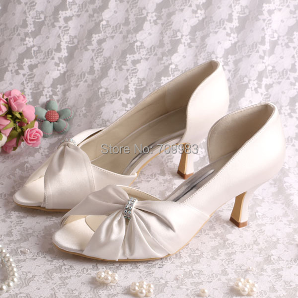 1e274a9d7fae (15 Colors)Wholesale and Retail Cream Satin Bride Wedding Pumps Open Toe 6.5CM  Heel Size 6 Free Shipping