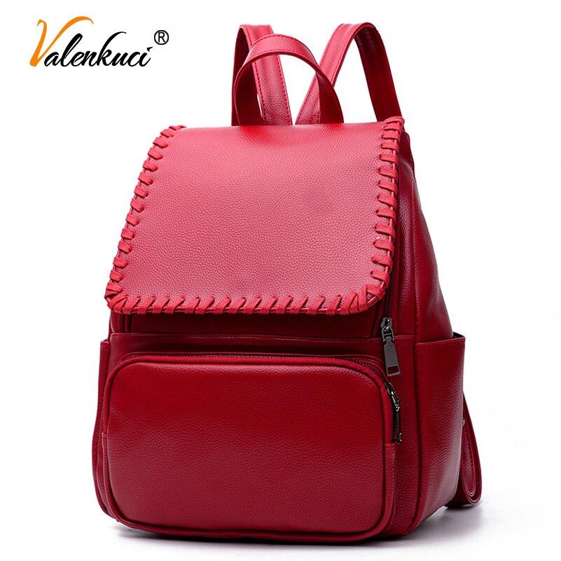 Valenkuci 2017 new style korean backpacks fashion pu leather shoulder bag women backpack student school bags BD-203