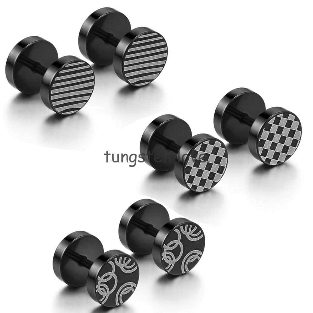 8mm Pair Of Uni Mens Stainless Steel Fake Cheater Ear Plug Earrings Stud Barbell Stretchers 5