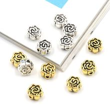 50pcs/lot Hole 1mm Flower Shaped Loose Spacer Metal Beads For Jewelry Making Finding Handmade Accessories Diy Necklace