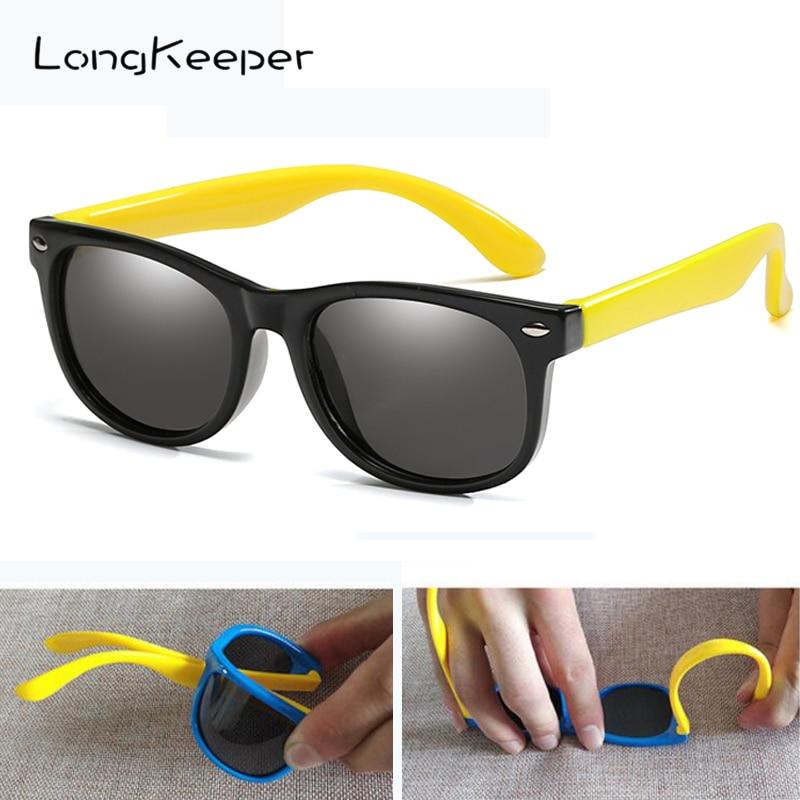 LongKeeper Kids Polarized Sunglasses Children Flexible Mirror Silicone Glasses Girls Boys Safety Anti-glare UV400 Gafas De Sol