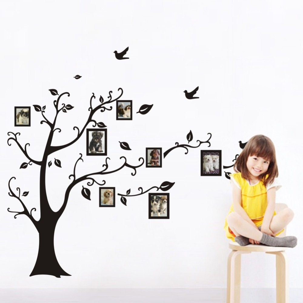 Lp 1set large size 90120cm black color family tree sticker wall lp 1set large size 90120cm black color family tree sticker wall decal photo frame tree stickers for living room wall decor in wall stickers from home amipublicfo Choice Image