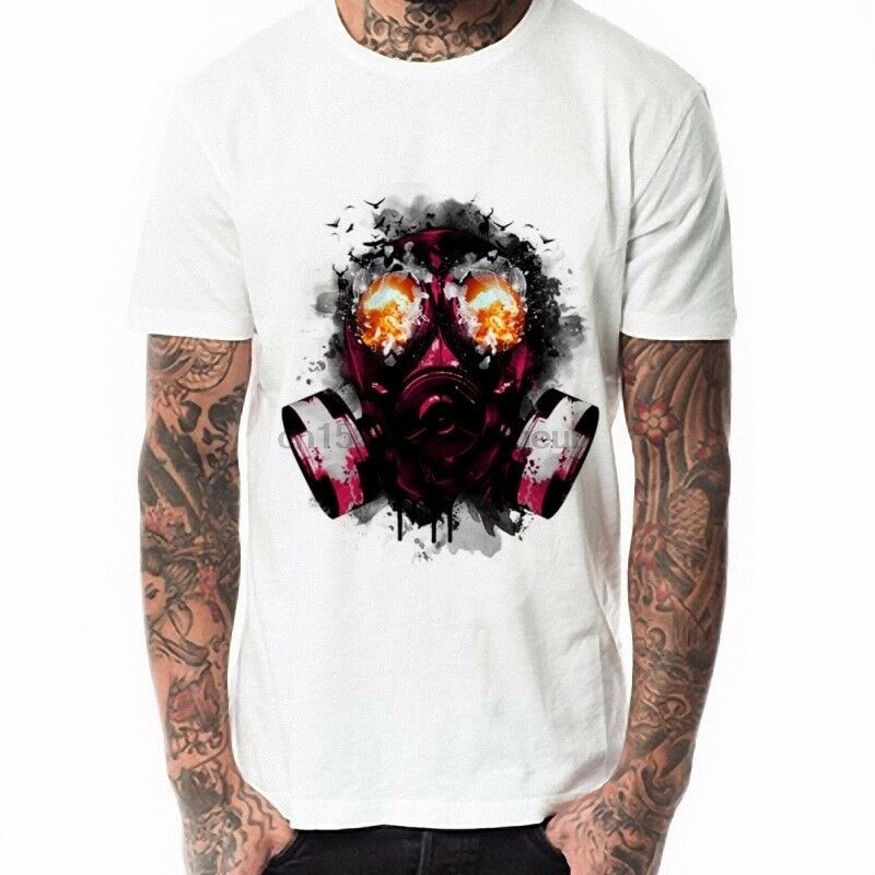 Smart Fashion Mask Anti Gas Men T Shirt O Neck Short Sleeve Man Tee White Tops 6 Sizes To Make One Feel At Ease And Energetic Back To Search Resultsmen's Clothing
