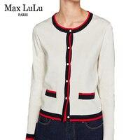 Max LuLu 2018 Luxury European Brand Pearl Designer Girls Knitted Knitwear Womens Short Cardigans 3d Striped