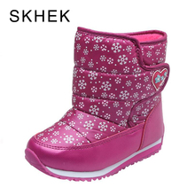 SKEHK Brand Butterfly Winter Girls Boots Shoes For Girls Wool  Warm Mid-Calf Winter Boots Boys Children Winter Boots Size 22-32 недорого