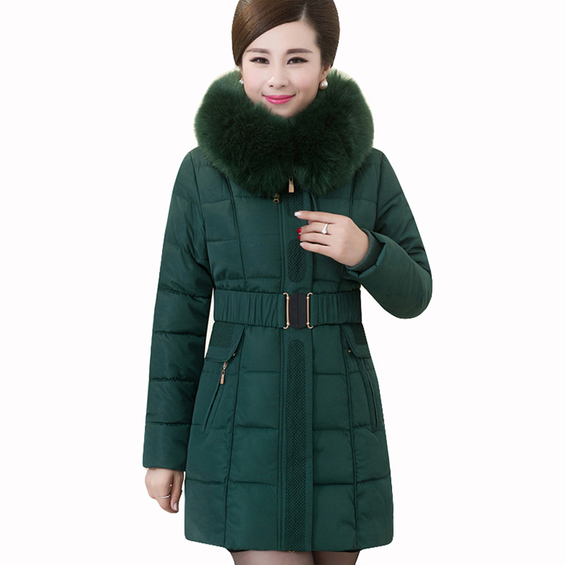 Plus Size XL-5XL Womens winter cotton Coats New Fashion Winter Style Dress Warm Coats High Qulity hooded fur collar Long Jackets ...