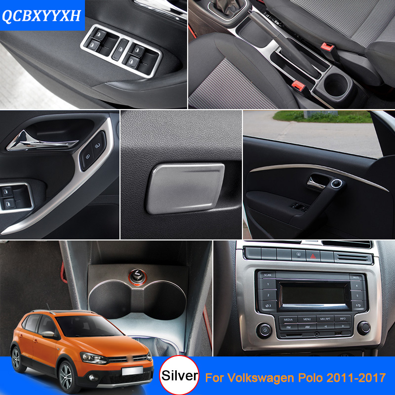 car styling silver color for vw polo 2011 2017 car interior decoration sequins interior door. Black Bedroom Furniture Sets. Home Design Ideas