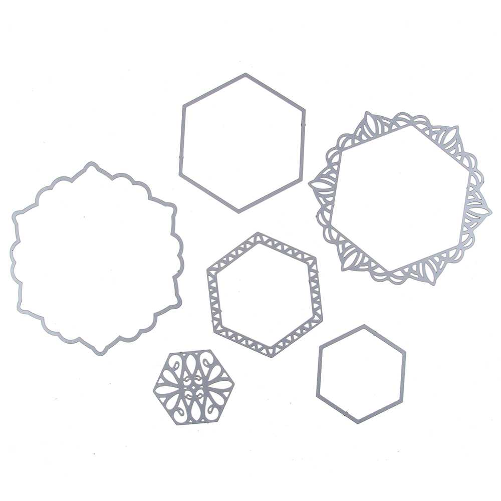 93*102MM scrapbooking 5pcs hexagon frame Shape Metal steel cutting ...