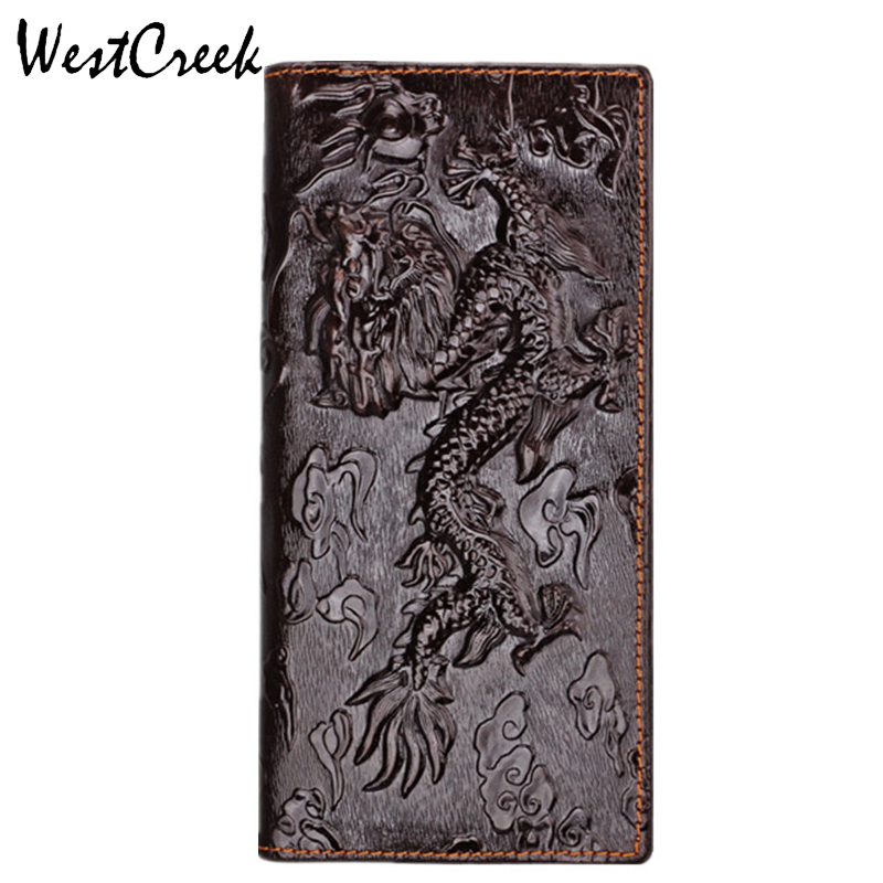 WESTCREEK Purse Men's Wallets Dragon-Pattern Unique-Design Genuine-Leather High-Quality