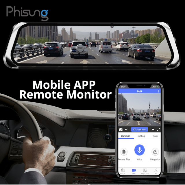 "Phisung E08 plus Car DVR 10""IPS Touch 4G Mirror DVR Android ADAS GPS FHD 1080P WIFI auto registrar rear view mirror with camera 1"