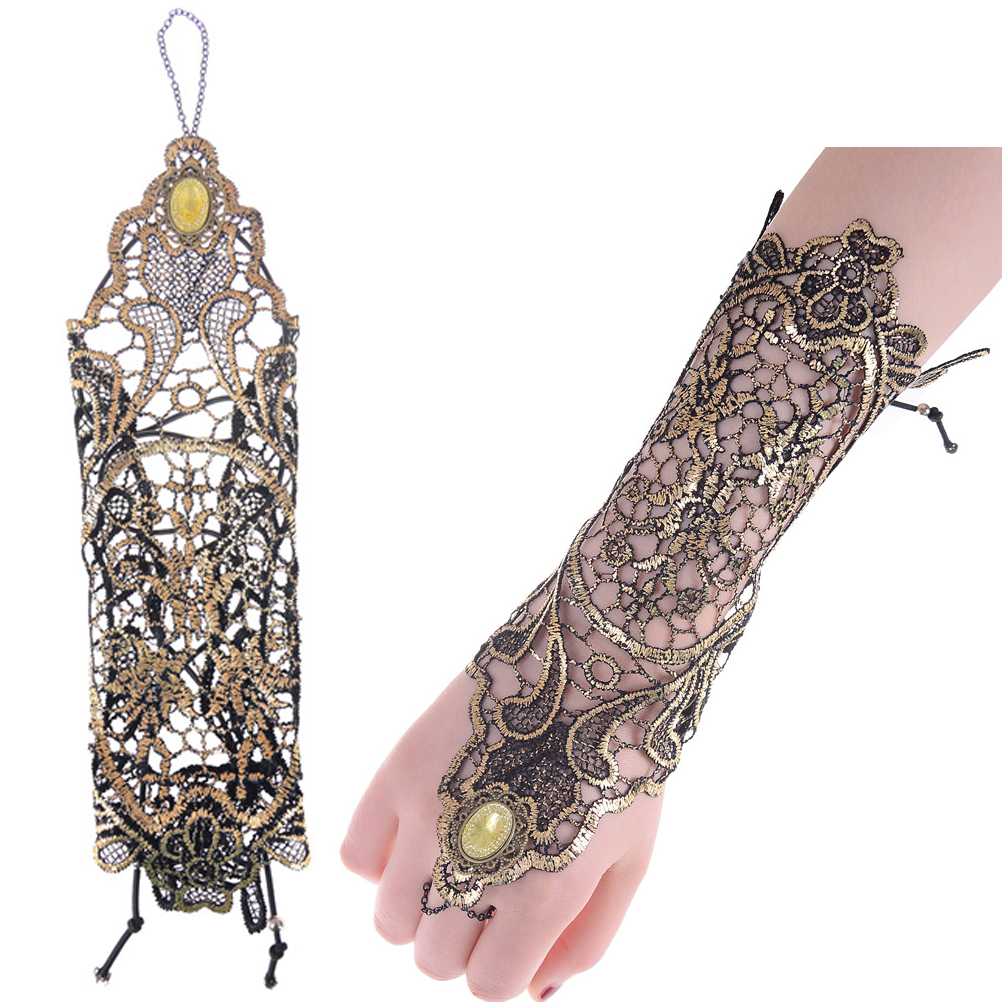 1pcs Elegant Women Fingerless Bridal Gloves Short Paragraph Rhinestone Black Lace Glove Wedding Accessories