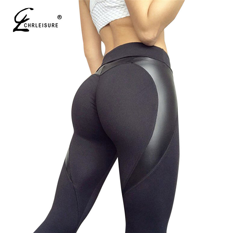 CHRLEISURE moda corazón Fitness Leggings mujeres de alta cintura Leggings Sportswear Slim Jeggings estiramiento pantalones femeninos