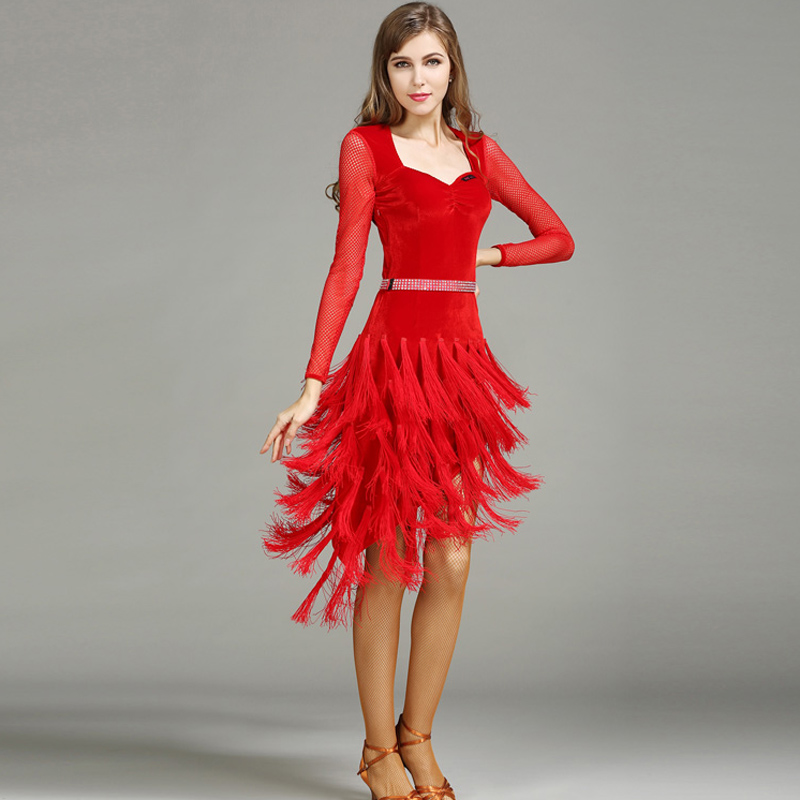 red black velvet latin ballroom dress modern dance costume ...