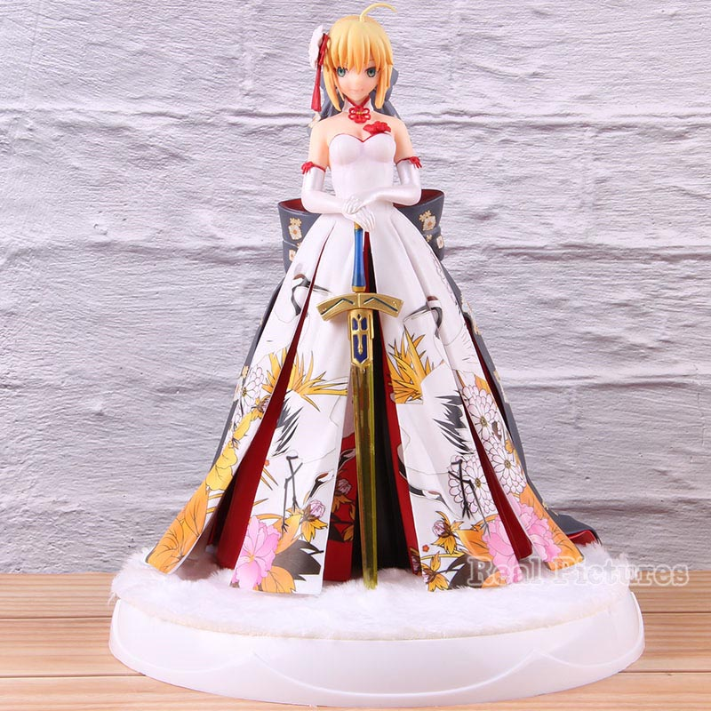 Anime Fate Stay Night Saber Kimono White Dress Action Figure Collectible Model Toy For Birthday PresentAnime Fate Stay Night Saber Kimono White Dress Action Figure Collectible Model Toy For Birthday Present