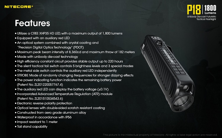Bateria NITECORE P18 + NL1835HP TOPSALE 1800