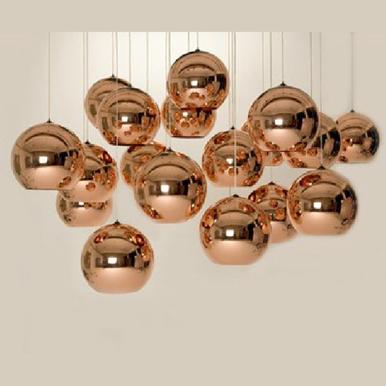 Copper Silver Color Glass Mirror Ball Pendant Light Electroplate Hanging Lighting Fixture for KTV Dining Room Bar Restaurant colorfull light mirror reflection glass ball stage festival hanging ball motor 10inch 19cm
