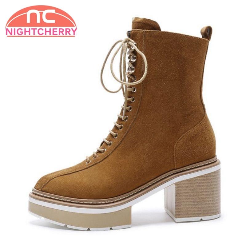 f600c89cc71f80 Cuir Nightcherry Velvet Cloth À 43 Taille brown Véritable Lacets 34 Black  Femmes mollet Chaussures forme En black Plate ...