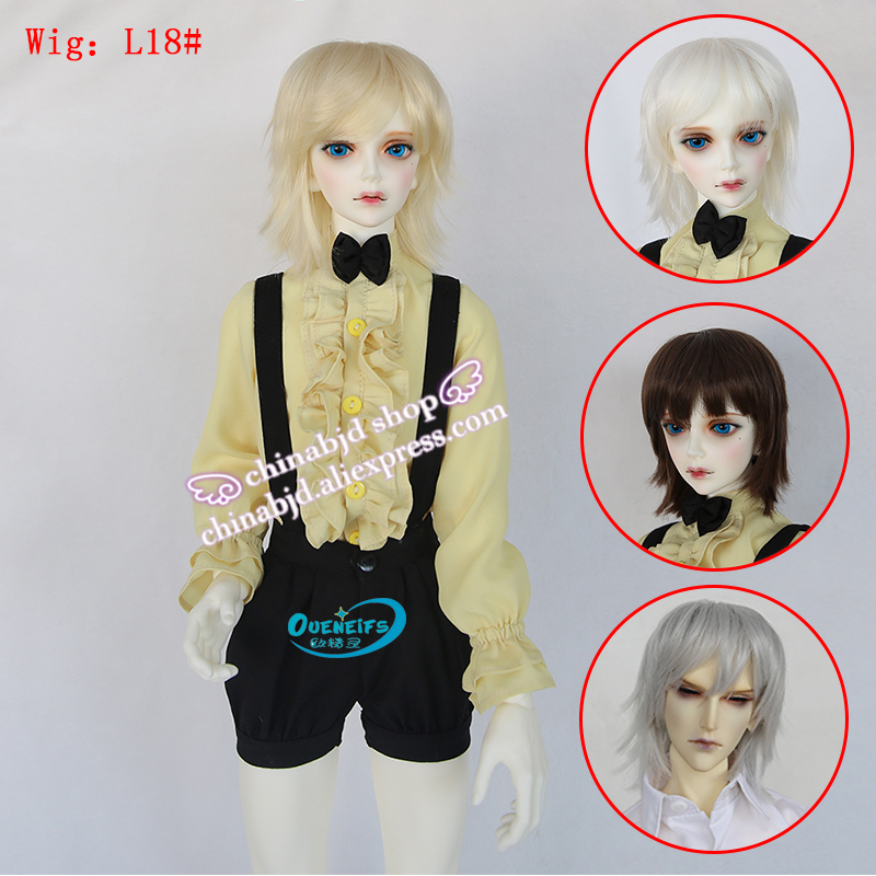 Wig For BJD Doll 1/3  High-temperature Short Hair Silver Black Colors Wig For Dolls Charge ExtraL18#22-24cm Doll   Luodoll