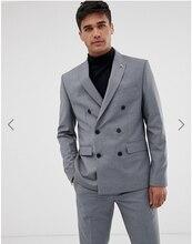 Gray Double Breasted Suit 2 Pcs Jacket Men Suits Tuxedo Business Plus Custom New