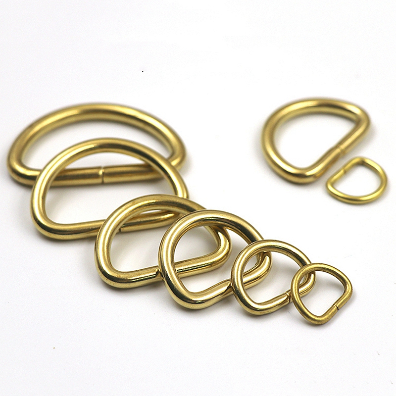 2Pcs Solid Brass D Rings Buckles for Bag Strap Belt Purse Webbing Dog Collar 10 38mm Inner Width Leather Craft DIY Accessories in Buckles Hooks from Home Garden