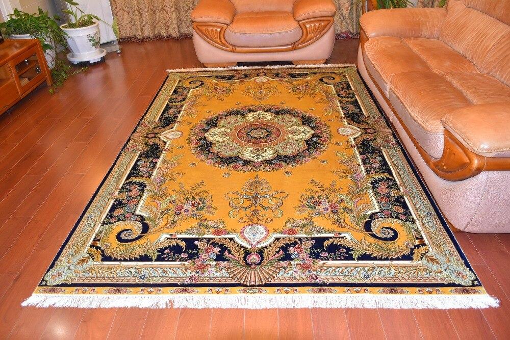 6'x9 'fleur jaune salon Oriental tapis de soie noués à la main tapis de soie Design persan pour salon