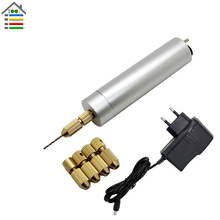 DIY Mini Micro Electric Aluminum Hand Drill AC110-240V w/5 Brass Collets 10pc Twist Bits Set PCB Wooden Motor Hobby Model Tool